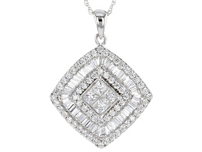 Cubic Zirconia Silver Pendant With Chain 4.09ctw (3.12ctw DEW)