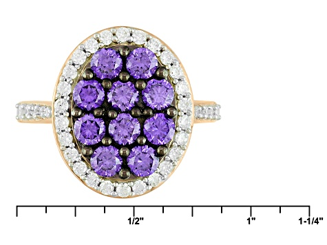 Purple And White Cubic Zirconia 18k Rose Gold Over Silver Ring 3.62ctw (1.62ctw DEW)