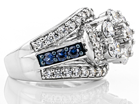 White Cubic Zirconia And Synthetic Blue Sapphire Silver Ring 5.52ctw