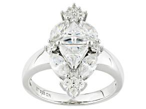 Cubic Zirconia Silver Ring 3.40ctw (2.64ctw DEW)