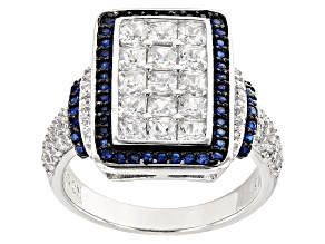Blue And White Cubic Zirconia Rhodium Over Sterling Silver Ring 3.46ctw