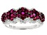 Red And White Cubic Zirconia Rhodium Over Sterling Silver Ring 1.88ctw