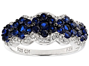 Blue And White Cubic Zirconia Rhodium Over Silver Ring 1.69ctw