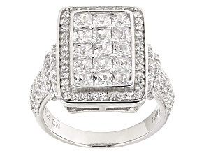 White Cubic Zirconia Rhodium Over Silver Ring 1.46ctw