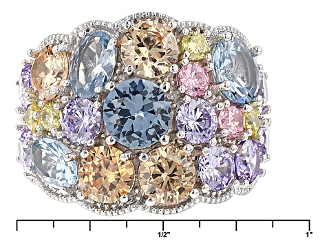Pink Yellow Purple Brown And Blue Cubic Zirconia Rhodium Over Silver Ring 11.10ctw