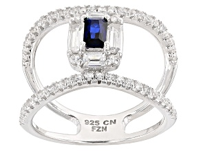 Blue And White Cubic Zirconia Rhodium Over Sterling Silver Ring 2.03ctw