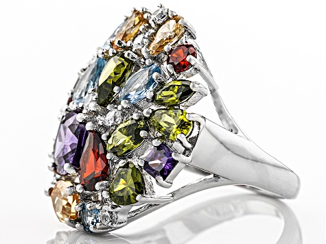 Purple/Blue,Red/White/Brown/Green Cubic Zirconia Rhodium Over Silver Ring 8.30ctw
