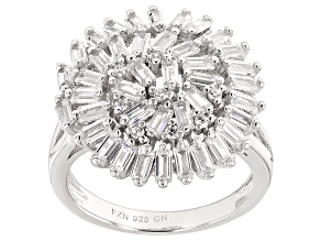 White Cubic Zirconia Rhodium Over Silver Ring 4.08ctw