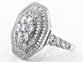 White Cubic Zirconia Rhodium Over Silver Ring 8.24ctw