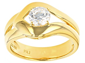 Cubic Zirconia 18k Yellow Gold Over Silver Ring 1.35ct (.84ct DEW)