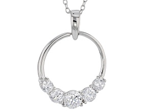 Cubic Zirconia Silver Pendant With Chain 1.55ctw (.92ctw DEW)