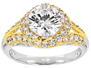 Cubic Zirconia Silver And 18k Yellow Gold Over Silver Ring 2.68ctw (2.38ctw DEW)