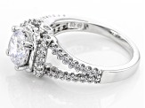 Cubic Zirconia Rhodium Over Sterling Silver Ring 2.36ctw (1.58ctw DEW)