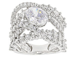 Cubic Zirconia Silver Ring 6.83ctw (3.83ctw DEW)