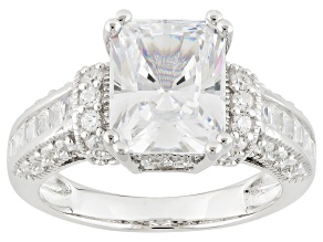 Cubic Zirconia Rhodium Over Sterling Silver Ring 7.68ctw (4.64ctw DEW)