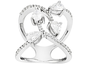White Cubic Zirconia Rhodium Over Sterling Silver Ring 3.14ctw