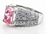 Pink And White Cubic Zirconia Rhodium Over Sterling Silver Ring 6.50ctw