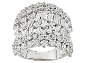 White Cubic Zirconia Rhodium Over Silver Ring 9.39ctw