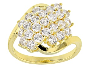 White Cubic Zirconia 18k Yellow Gold Over Silver Ring 2.38ctw