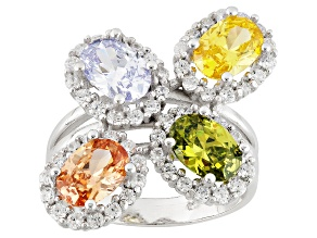 Purple/White/Yellow/Green/Brown Cubic Zirconia Rhodium Over Silver Ring 6.34ctw