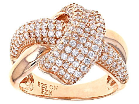 White Cubic Zirconia 18k Rose Gold Over Silver Ring 1.89ctw