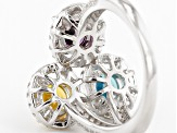 Yellow Blue Purple And White Cubic Zirconia Rhodium Over Silver Ring 5.13ctw