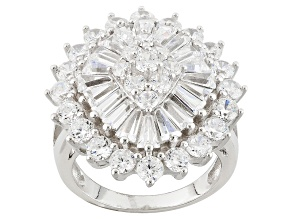 White Cubic Zirconia Rhodium Over Sterling Silver Ring 7.89ctw