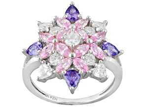 Pink White And Purple Cubic Zirconia Rhodium Over Silver Ring 3.81ctw
