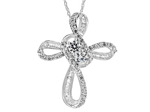 Cubic Zirconia Silver Cross Pendant With Chain 2.36ctw (1.43ctw DEW)