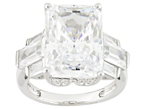 Cubic Zirconia Rhodium Over Sterling Silver Ring 17.02ctw (9.82ctw DEW)