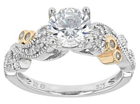 White Cubic Zirconia Rhodium And 14k Yg Over Silver Ring 2.43ctw