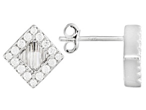 White Cubic Zirconia Rhodium Over Sterling Silver Earrings 1.17ctw