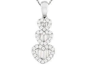 White Cubic Zirconia Rhodium Over Sterling Silver Pendant With Chain 1.76ctw