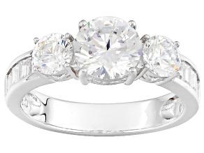 Cubic Zirconia Silver Ring 4.06ctw (1.78ctw DEW)