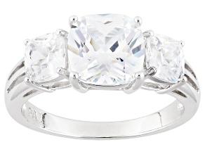 Cubic Zirconia Silver 3 Stone Ring 5.43ctw (4.43ctw DEW)