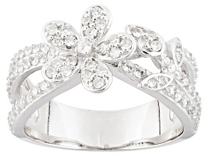 Cubic Zirconia Silver Flower Ring 1.18ctw (.78ctw DEW)