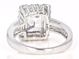 Cubic Zirconia Rhodium Over Sterling Silver Ring 5.20ctw (3.61ctw DEW)