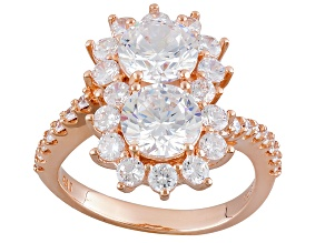 Cubic Zirconia 18k Rose Gold Over Silver Ring 6.40ctw (3.73ctw DEW)