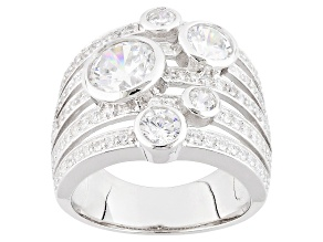 Cubic Zirconia Silver Ring 5.17ctw (3.13ctw DEW)