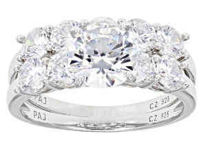 Cubic Zirconia Silver Ring With Band 6.22ctw (3.92ctw DEW)