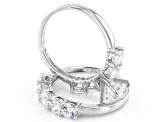 Cubic Zirconia Rhodium Over Sterling Silver Ring With Band 6.22ctw (3.92ctw DEW)