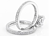 Cubic Zirconia Silver Ring With Band 4.03ctw (2.85ctw DEW)