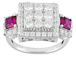 Red Lab Created Ruby And White Cubic Zirconia Rhodium Over Sterling Silver Ring 3.58ctw