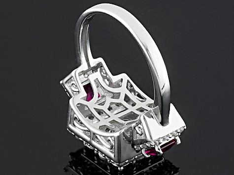 Synthetic Red Corundum And White Cubic Zirconia Silver Ring 3.58ctw