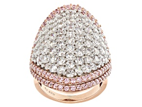 Pink And White Cubic Zirconia 18k Rose Gold Over Silver Ring 11.80ctw (5.66ctw DEW)