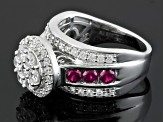 Synthetic Red Corundum And White Cubic Zirconia Silver Ring 3.43ctw