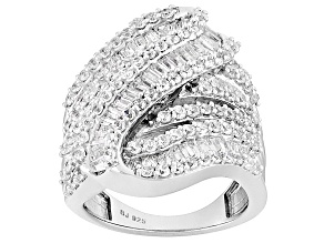 Cubic Zirconia Rhodium Over Sterling Silver Ring 5.96ctw (3.74ctw DEW)