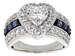 Blue And White Cubic Zirconia Rhodium Over Silver Ring 5.13ctw