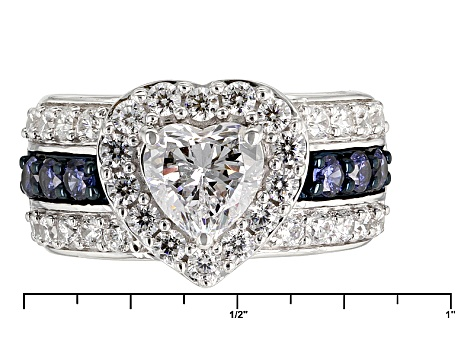 Blue And White Cubic Zirconia Rhodium Over Silver Heart Ring 5.13ctw