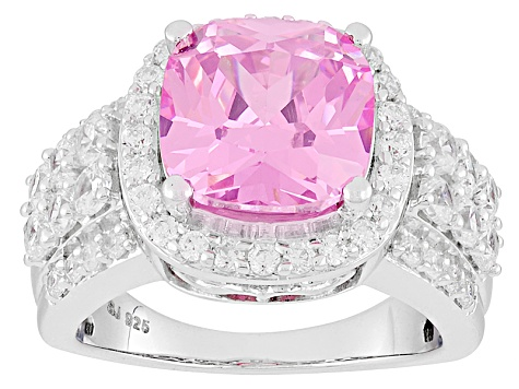 Pink And White Cubic Zirconia Silver Ring 10.15ctw (5.19ctw DEW)
